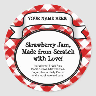 Personalised Canning Jar/Lid Label, Red Gingham Classic Round Sticker