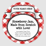 Personalised Canning Jar/Lid Label, Red Gingham Round Sticker