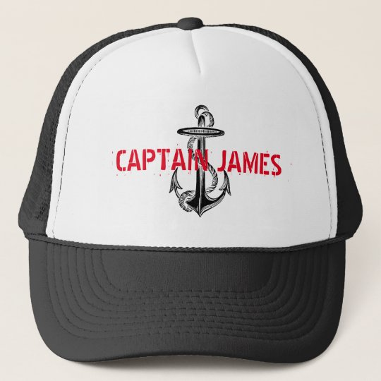 Personalised Captain Black Vintage Anchor Trucker Hat