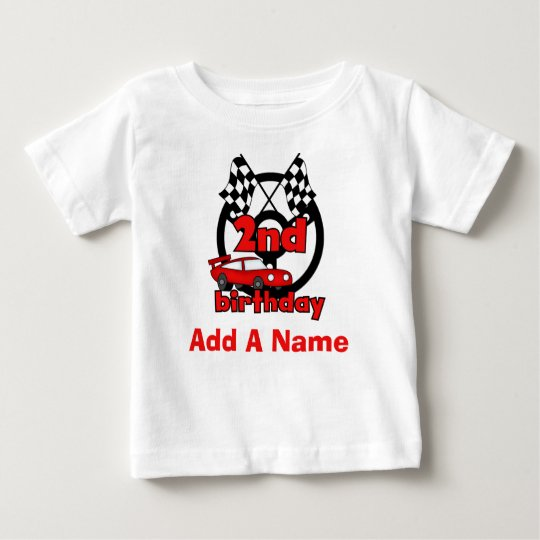Personalised Car Racing 2nd Birthday T-shirt