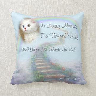 Personalised Cat Memorial Stairway to Heaven Throw Pillow