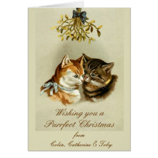 Personalised Cats Vintage Christmas Card