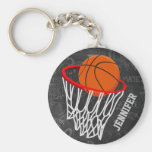 Personalised Chalkboard Basketball and Hoop Basic Round Button Key Ring