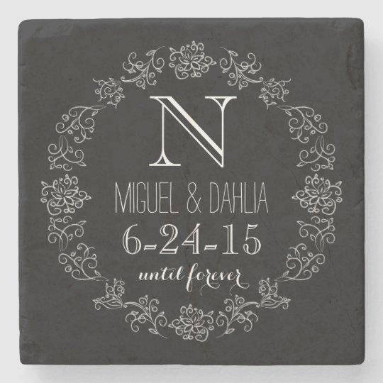 Personalised Chalkboard Monogram Wedding Date Stone Coaster