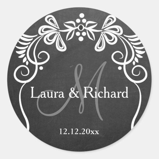 Personalised Chalkboard Wedding Monogram Classic Round Sticker