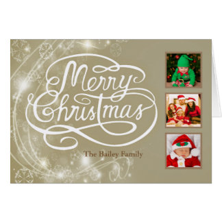 Personalised Champagne Photo & Text Christmas Card
