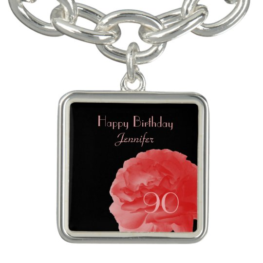 Personalised Charm Bracelet Coral Rose 90th Bday