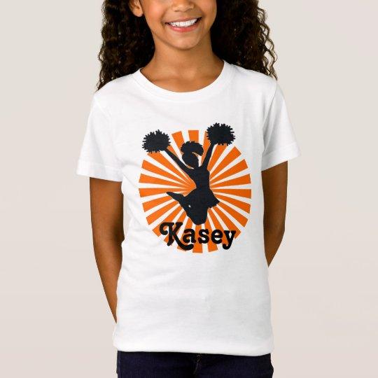 Personalised Cheerleader In Orange Starburst T-Shirt