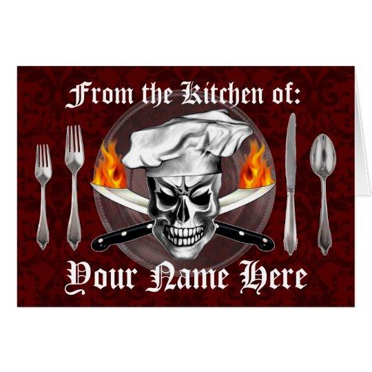 Personalised Chef Skull Recipe Card