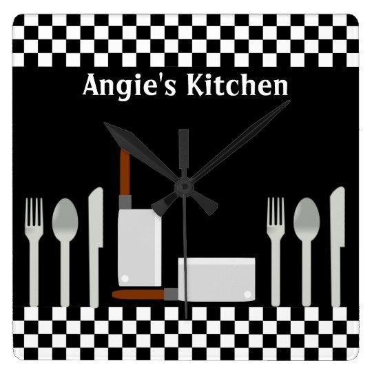 Personalised Chequerboard Kitchen Utensils Clock
