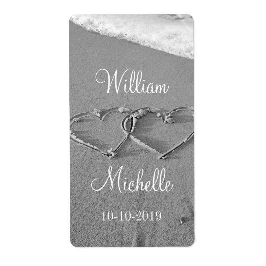 Personalised chic beach wedding wine bottle labels