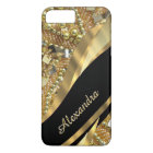Personalised chic elegant black and gold bling iPhone 8 plus/7 plus case