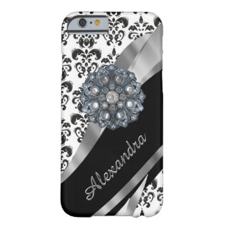 Personalised chic girly vintage damask barely there iPhone 6 case