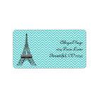 Personalised Chic Paris Eiffel Tower Address Label