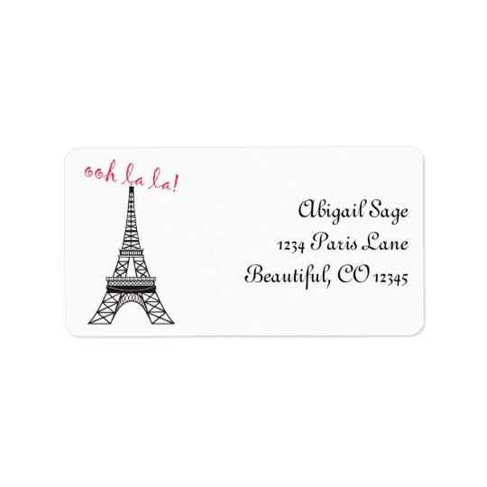 Personalised Chic Paris Eiffel Tower Address Label