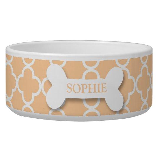 Personalised chic peach dog bone pet food bowl
