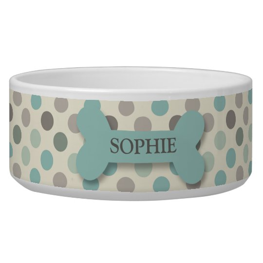 Personalised chic polka dot dog bone pet food