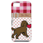 Personalised Chocolate Lab Puppy and Red Heart Tough iPhone 5 Case