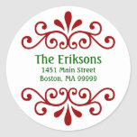 Personalised Christmas Address Labels Round Sticker