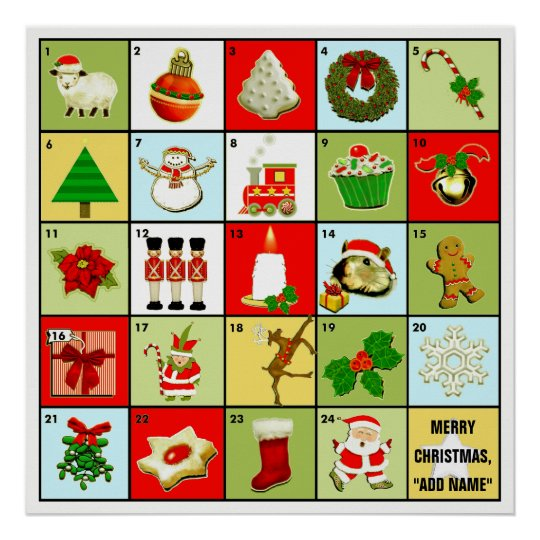 personalised Christmas Advent calendar Poster