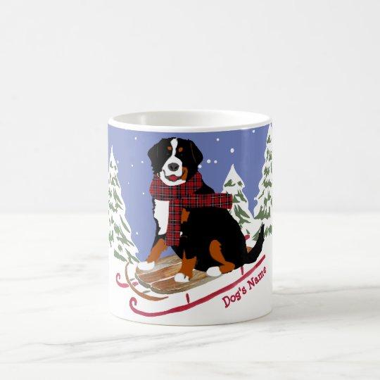 Personalised Christmas Bernese Mt Dog Sledding Coffee Mug