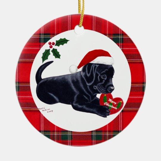 Personalised Christmas Black Lab Puppy Christmas Ornament