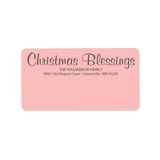 Personalised Christmas Blessings Mailing Label