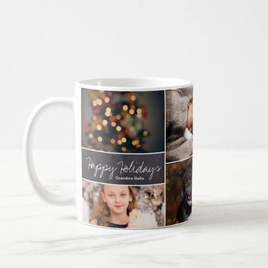Personalised, Christmas, Collage 6 Photos, Chalk Coffee Mug