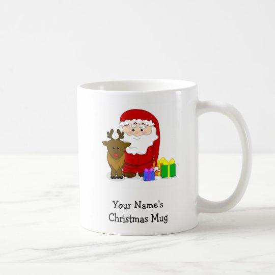 Personalised Christmas Mug - Santa and Reindeer