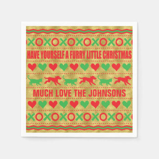 """Personalised Christmas Napkins """"FurryChristmas"""" Paper Serviettes"""