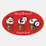 Personalised Christmas Panda Stocking Oval Sticker