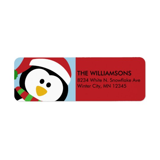 Personalised Christmas Penguin Address Labels