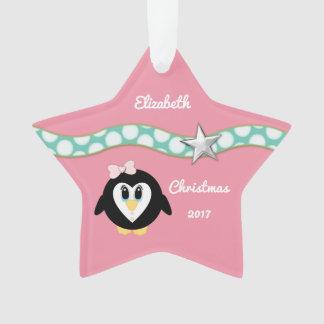 Personalised Christmas penguin pink Granddaughter Ornament