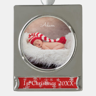 Personalised Christmas Photo Banner Ornament Silver Plated Banner Ornament