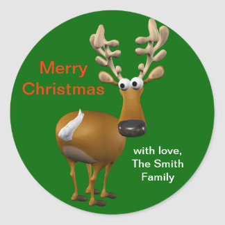 Personalised Christmas Reindeer Gift Tag/Label Round Sticker