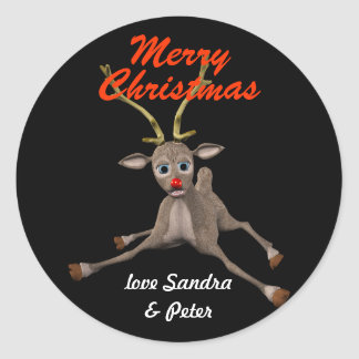 Personalised Christmas Rudolph Black Gift Tag Round Sticker