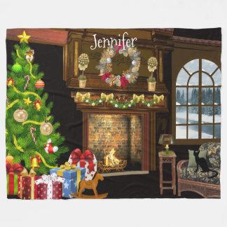 Personalised Christmas Scene Fleece Blanket