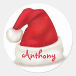 Personalised Christmas Stickers/Santa Hat Round Sticker