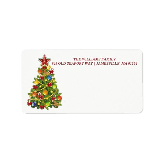 Personalised Christmas Tree Mailing Labels