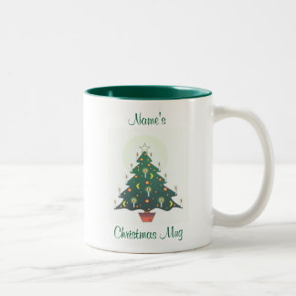 personalised christmas tree Two-Tone coffee mug