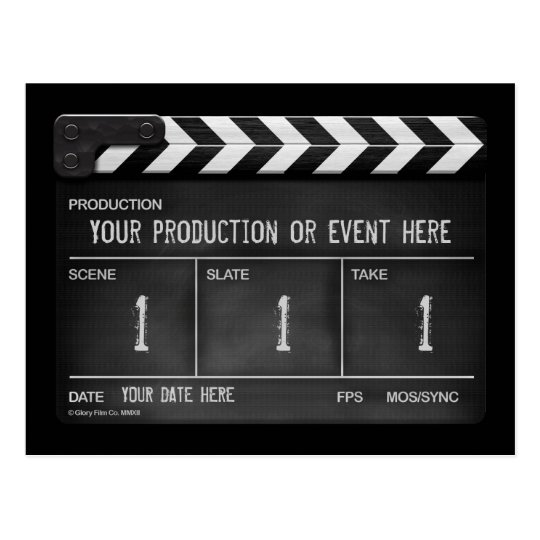 Personalised clapperboard / slate postcard