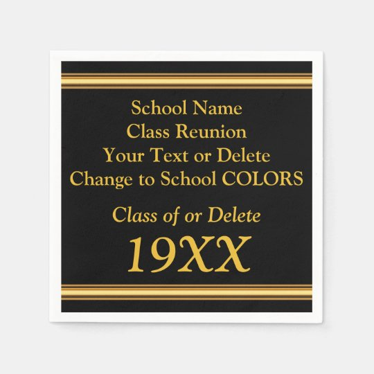 Personalised Class Reunion Napkins in YOUR COLORS Paper