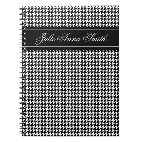 Personalised Classic Houndstooth Spiral Notebook