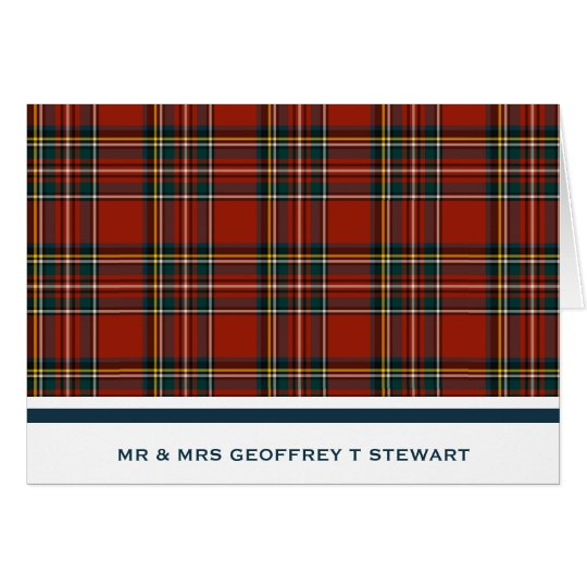 Personalised Classic Red Scottish Tartan Card