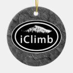 Personalised Climbing iClimb Mountain Tag Round Ceramic Decoration