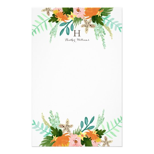 Personalised   Coastline Floral Stationery