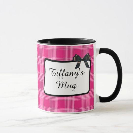 Personalised Coffee Mug Pink Plaid Pattern