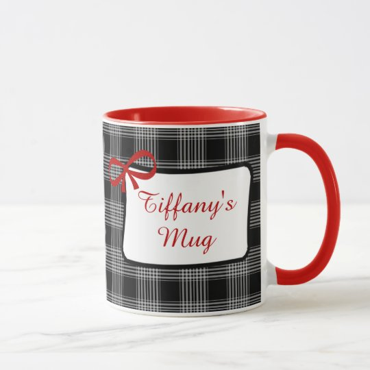 Personalised Coffee Mug Red and Black Pattern