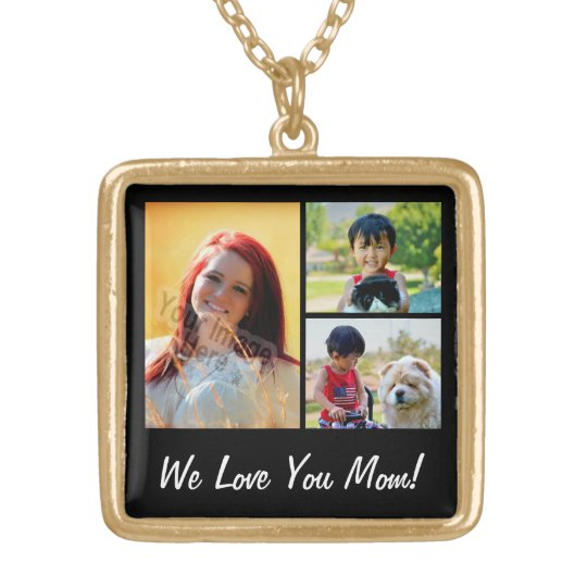 Personalised Collage 3 Photo Mother's Day Gold Plated Necklace