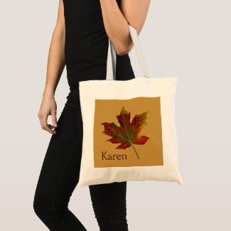 Personalised Colourful Autumn Maple Leaf Tote Bag